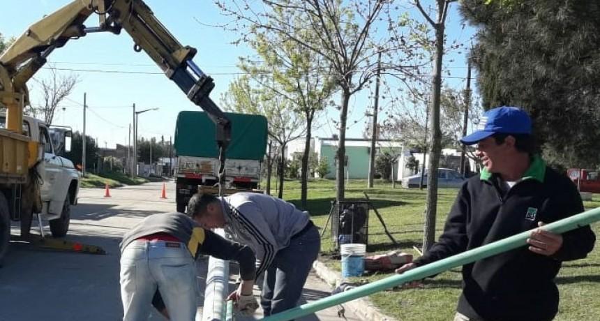 La cooperativa eléctrica colocó nuevas columnas de alumbrado público en la localidad