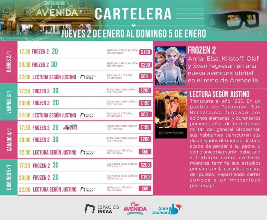 Programación Cine Avenida del 2 al 5 de enero