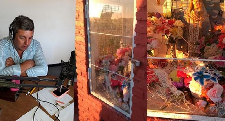 Rompieron el techo y el vidrio que guarece a la imagen de la Virgen de Luján, en el acceso a Urdampilleta
