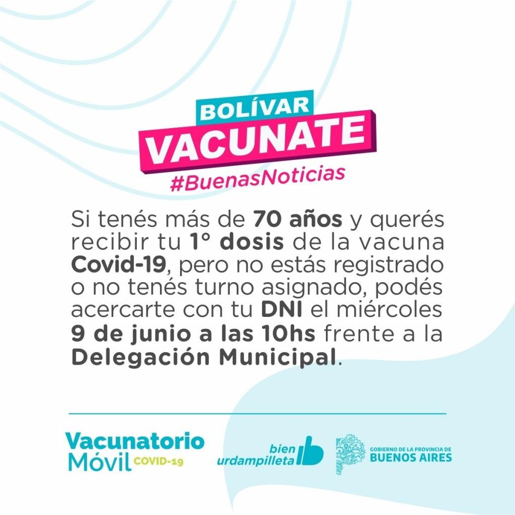 Bolívar Vacunate: Los mayores de 70 años podrán aplicarse la primera dosis de la vacuna contra el Covid sin turno previo