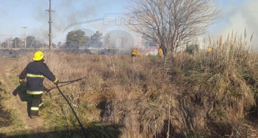 Salida de Bomberos; quema de pastos en vías del ferrocarril