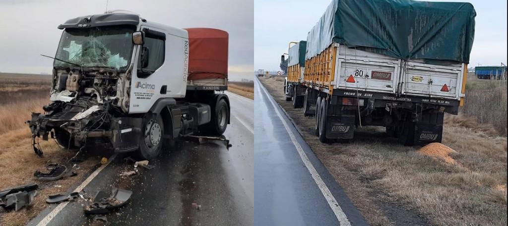Daireaux; Choque de camiones sobre ruta 65