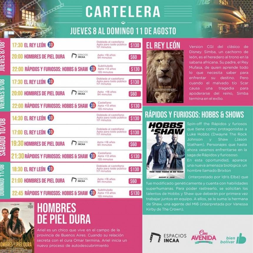 Cine Avenida; Cartelera Rápida y Furiosa
