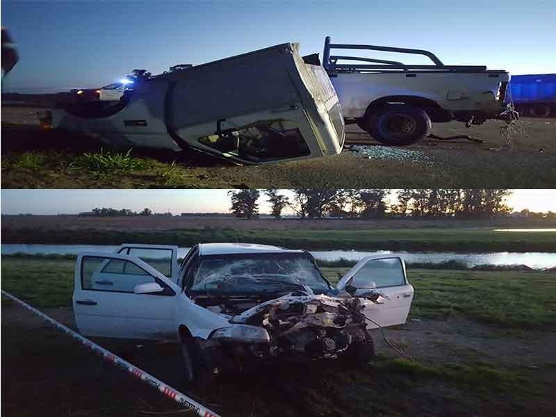 Violento accidente en Ruta 86 y bajada a Pirovano por calle de tierra.