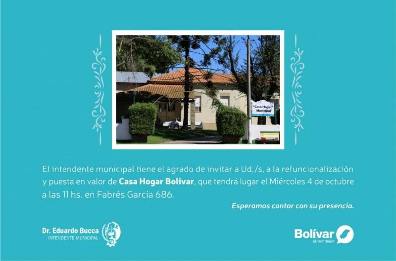 Este miércoles el intendente Bucca inaugura obras en Casa Hogar