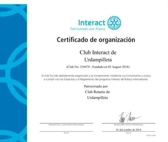 Interact Urdampilleta recibió el reconocimiento de Rotary Internacional
