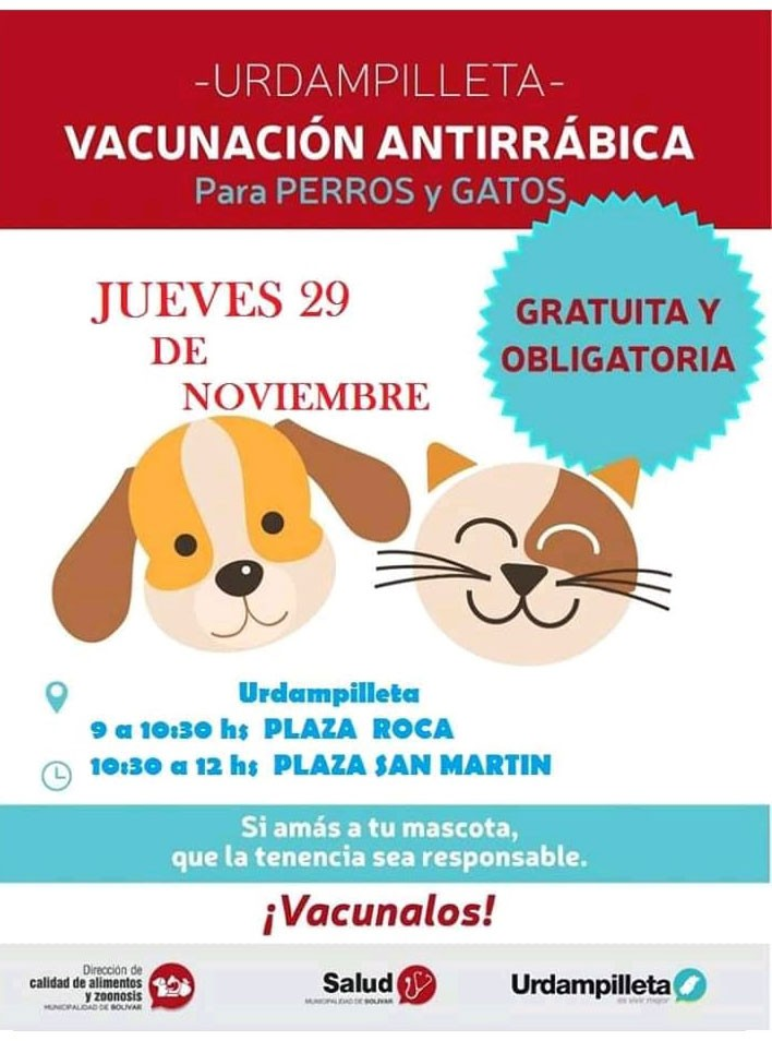 Este próximo jueves 29 se realizara la campaña de vacunación antirrábica en la localidad