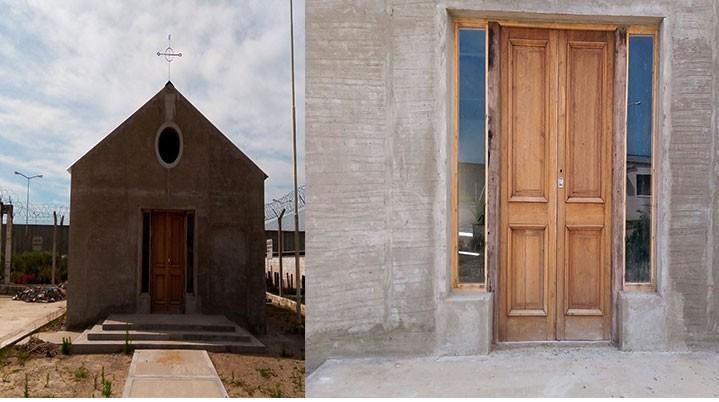 Una puerta de 130 años es la entrada  a la capilla de la Unidad 17