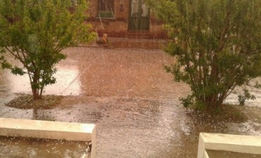 La tormenta dejó granizo en Urdampilleta