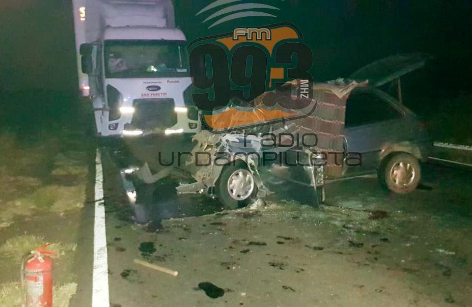 Dos personas fallecieron en un choque frontal en la Ruta 65
